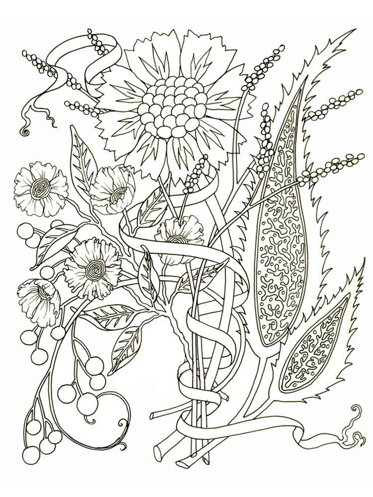 Flowers Coloring Pages For Adults Free Printable Flowers