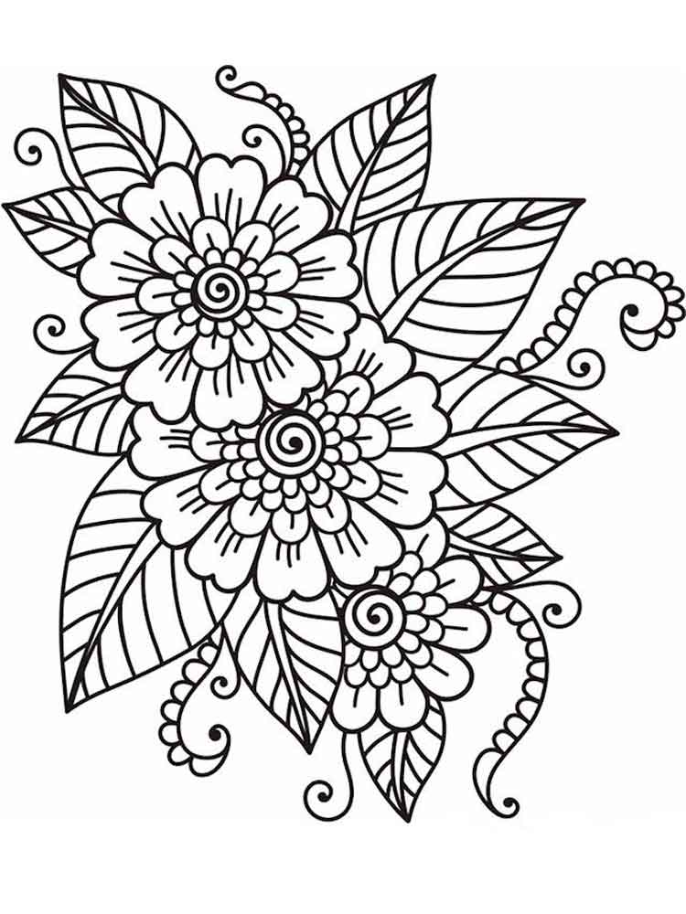 Flowers coloring pages for adults. Free Printable Flowers ...