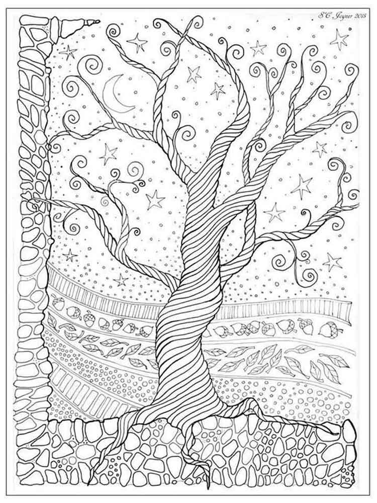 Tree coloring pages for adults. Free Printable Tree coloring pages.