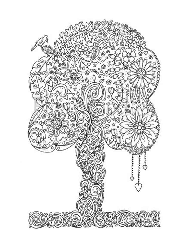 Adult Coloring Pages Tree 5