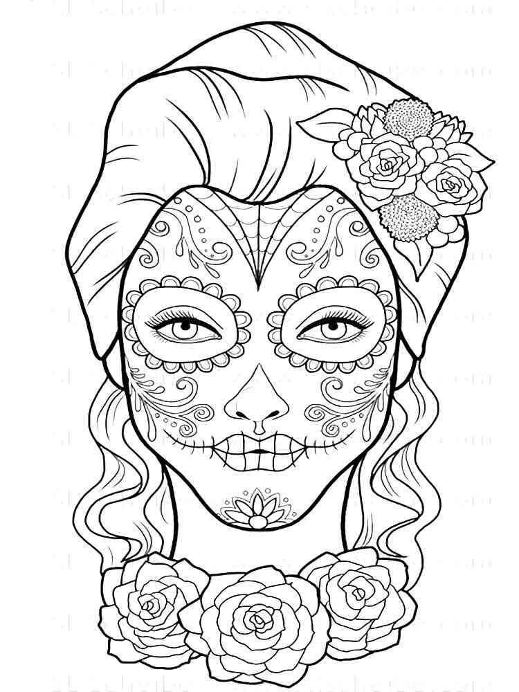 adult dia de los muertos coloring pages 11 - Dia De Los Muertos Coloring Pages