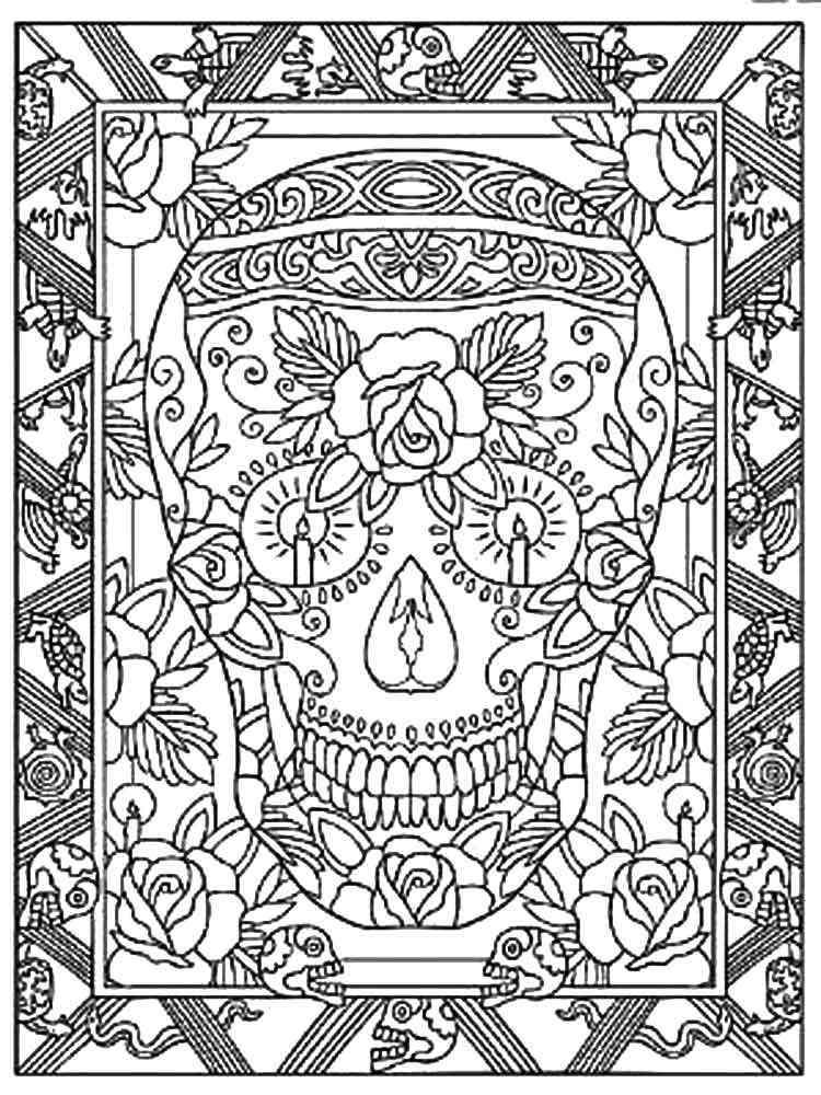 Dia De Los Muertos Coloring Pages For Adults Free