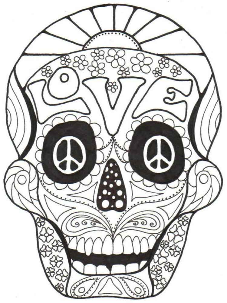 Dia De Los Muertos coloring pages for adults Free