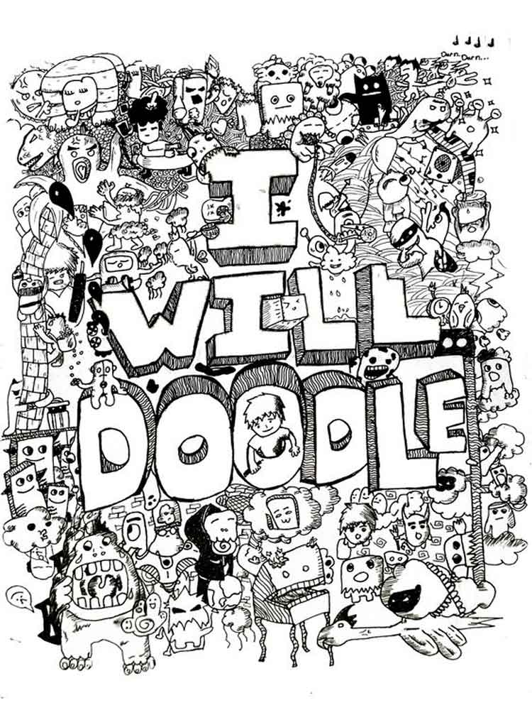 Doodle coloring pages for adults Free Printable Doodle