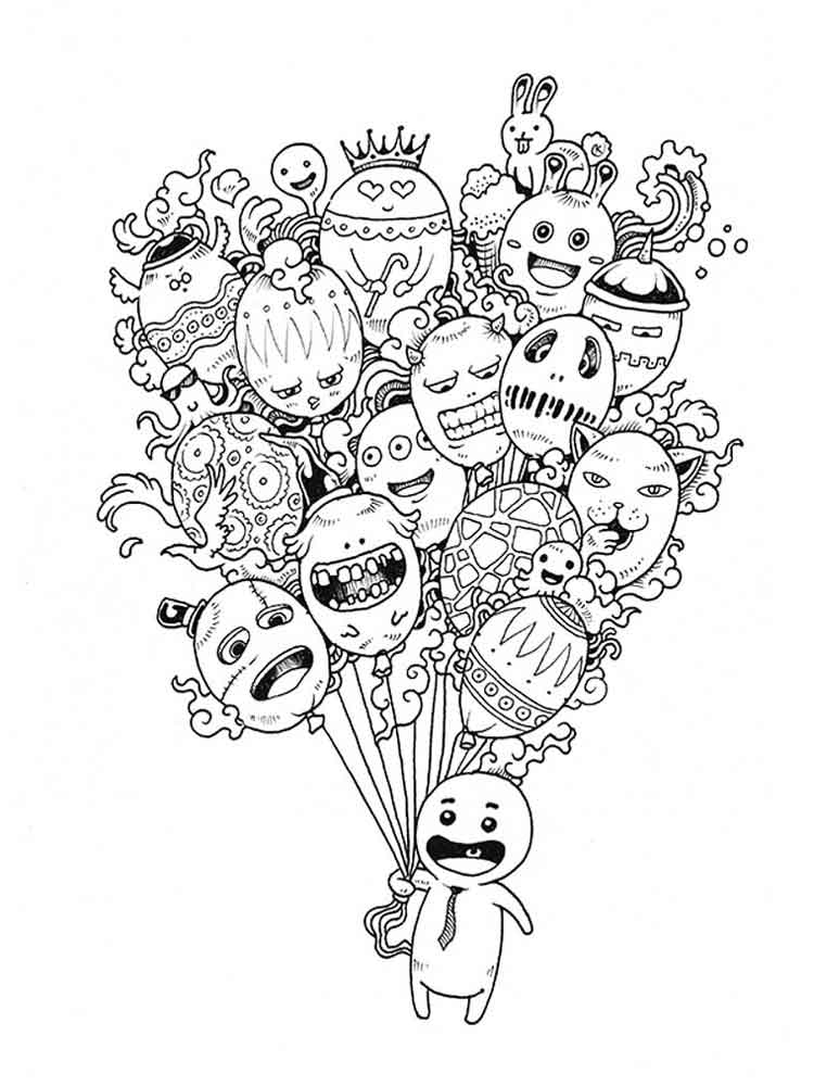 Doodle coloring pages for adults