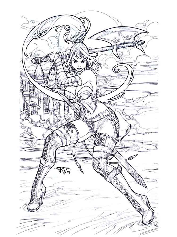 fantasy coloring pages adult 1 - Fantasy Coloring Pages Adults