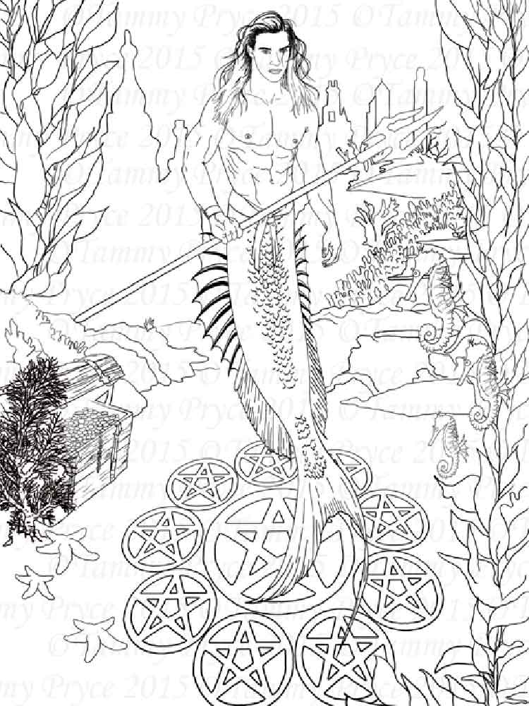 Adult Coloring Page Little Mermaid Coloring Page Fantasy | Etsy | 1000x750