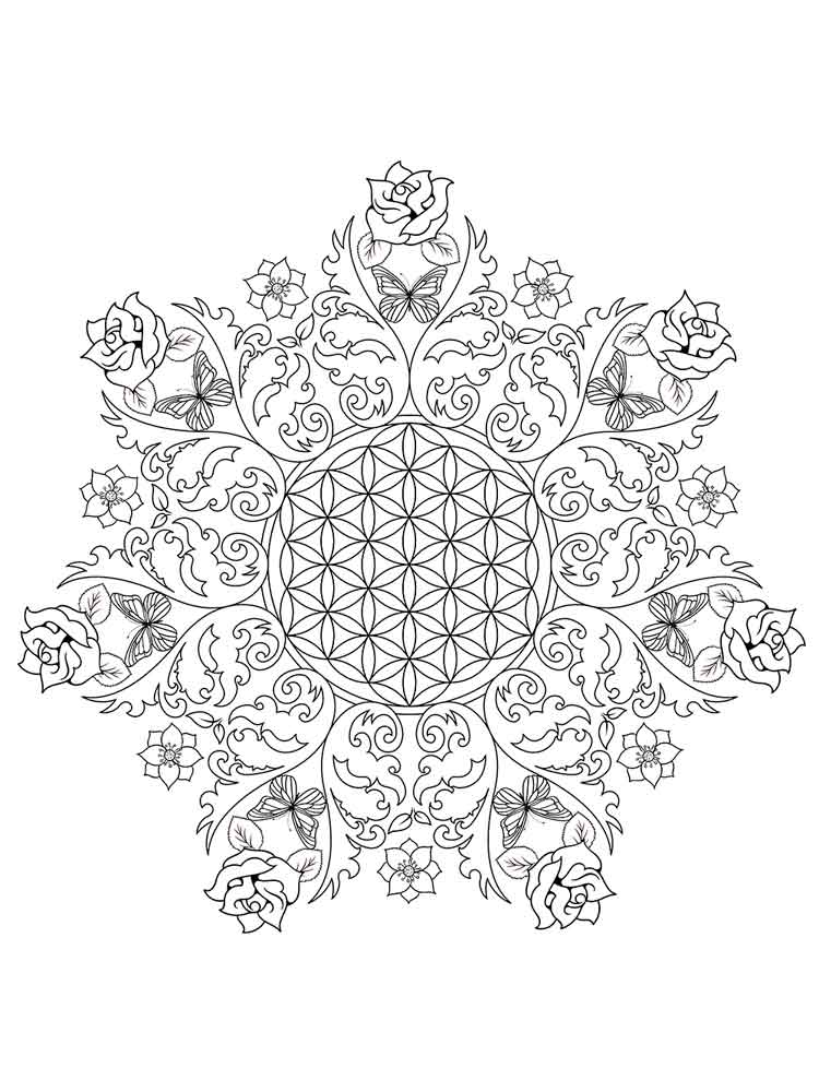 Flower mandala coloring pages for adults. Free Printable ...