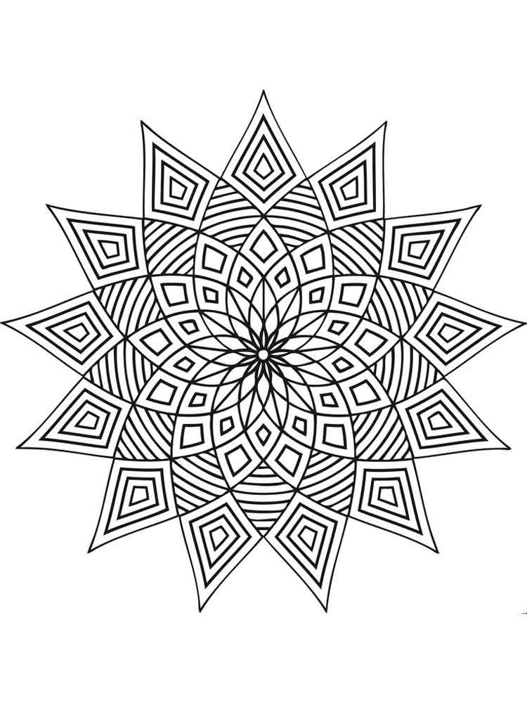 Geometric Design coloring pages for adults Free Printable