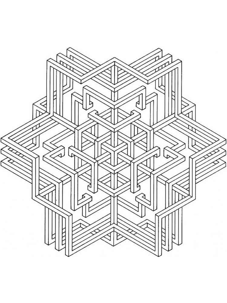 Geometric Design coloring pages for adults. Free Printable Geometric ...