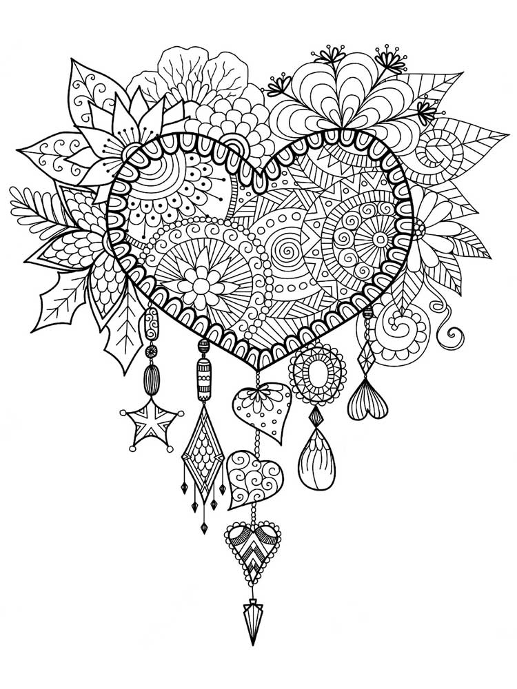 Free Hearts coloring pages for Adults. Printable to ...