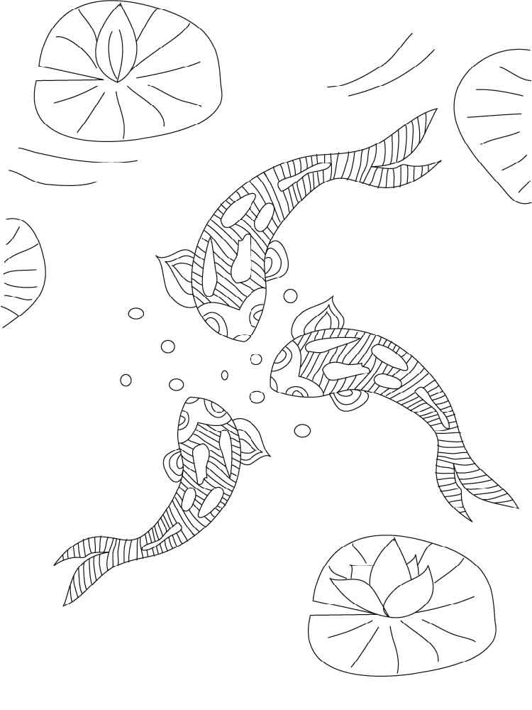 KOI Fish Coloring Pages For Adults Free Printable KOI