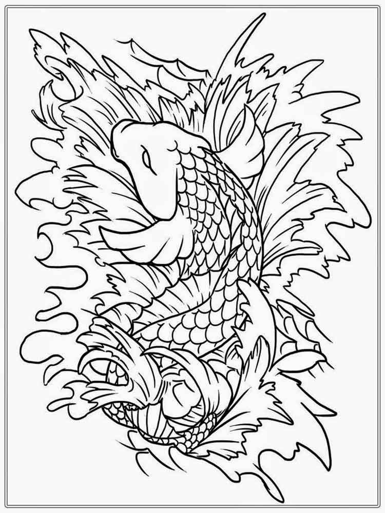 coloring page fish koi fish coloring pages for adults free printable koi fish - Fish Coloring Pages For Adults