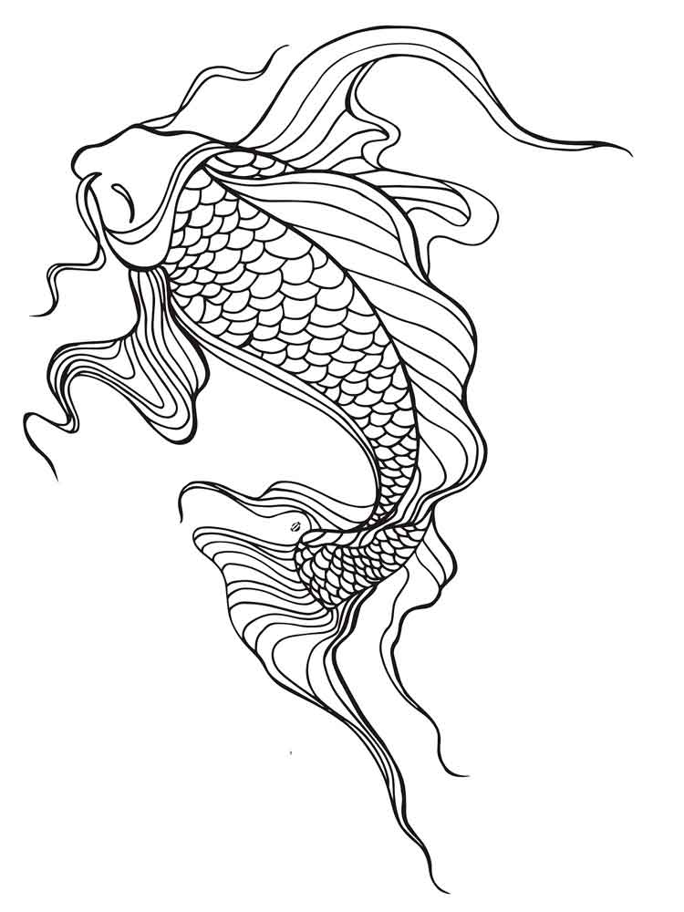 KOI Fish coloring pages for adults. Free Printable KOI Fish coloring ...