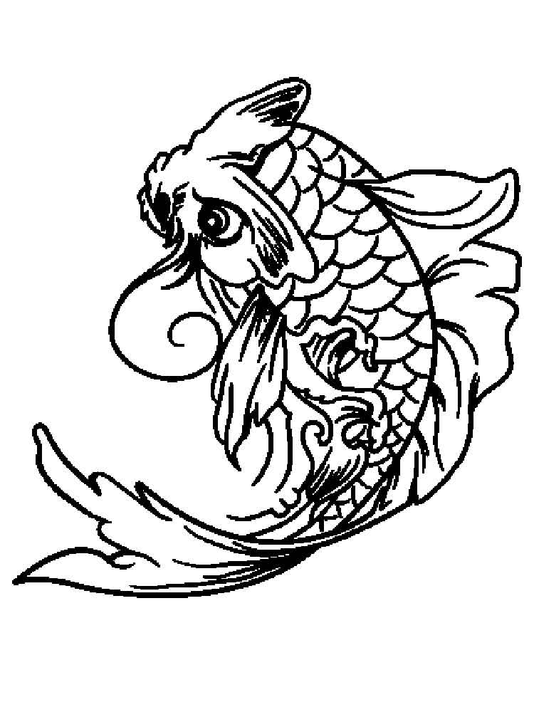 KOI Fish coloring pages for adults. Free Printable KOI ...