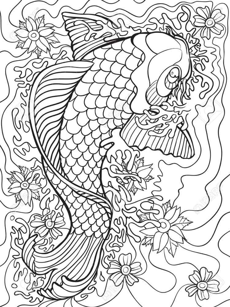 koi fish coloring pages adult 6 - Fish Coloring Pages For Adults