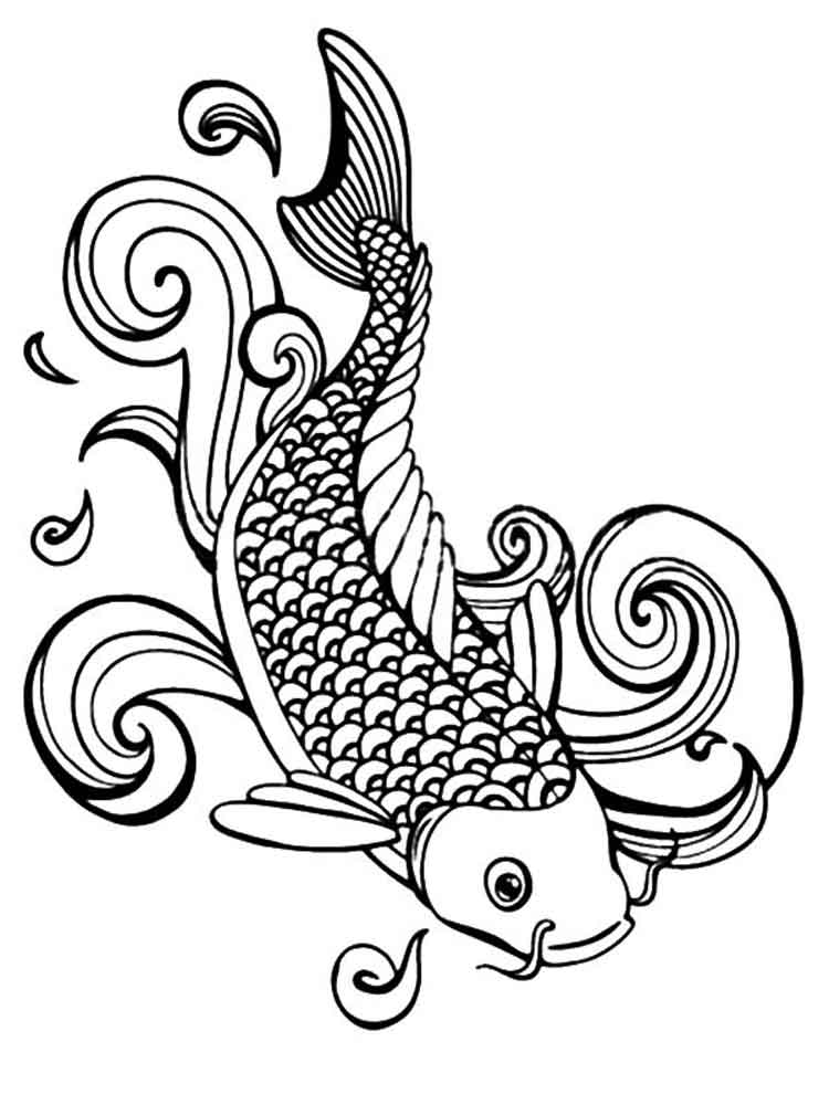 Koi fish coloring pages for adults free printable koi for Adult fish coloring pages