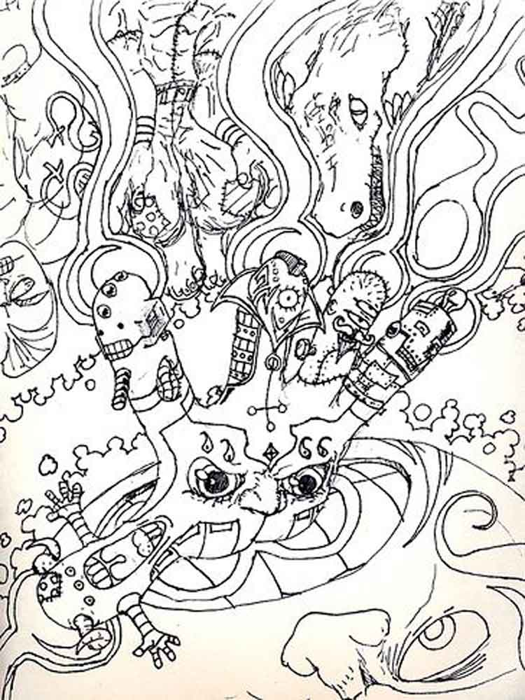 psychedelic coloring pages adult 10 - Fantasy Coloring Pages Adults
