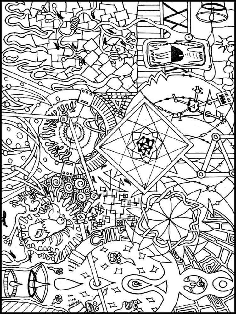 Psychedelic coloring pages for adults free printable for Printable psychedelic coloring pages