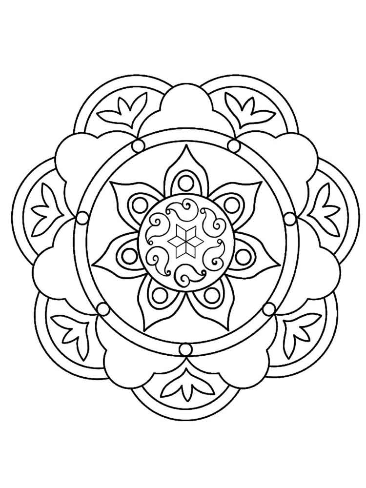 Rangoli coloring pages for adults Free Printable Rangoli