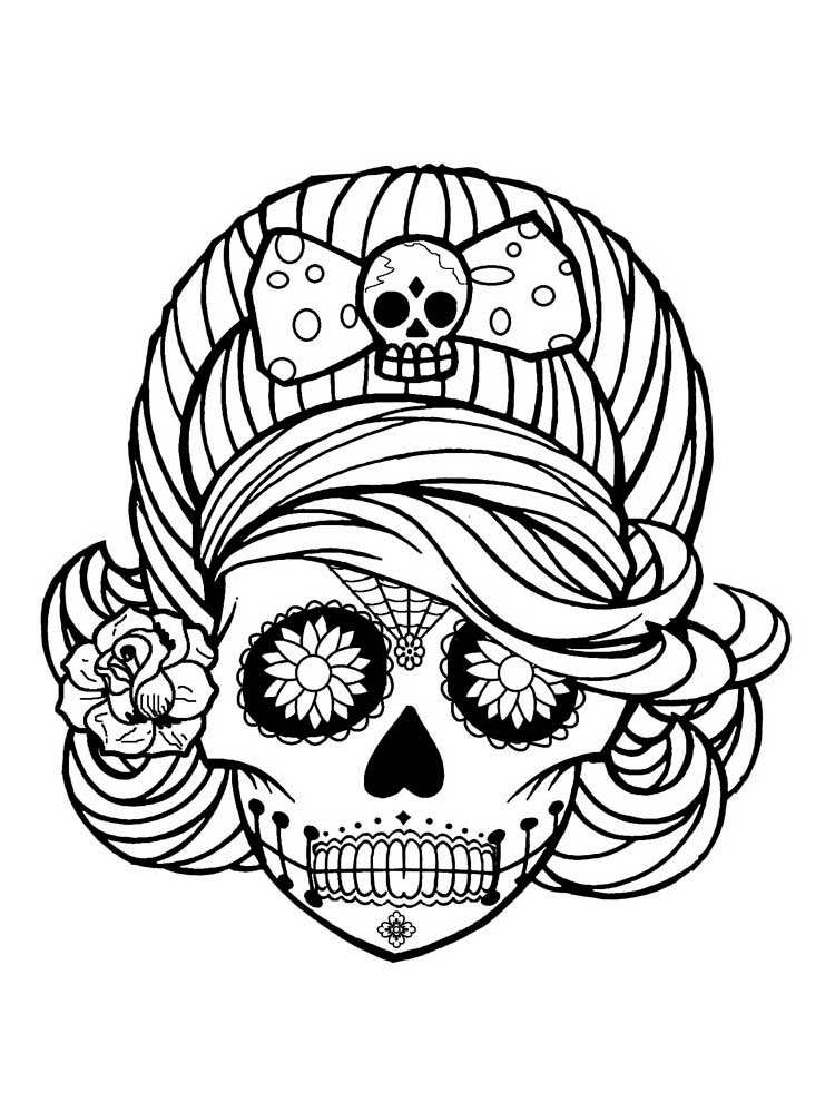 Free Sugar Skull Coloring Pages For Adults. Printable To Download Sugar  Skull Coloring Pages.