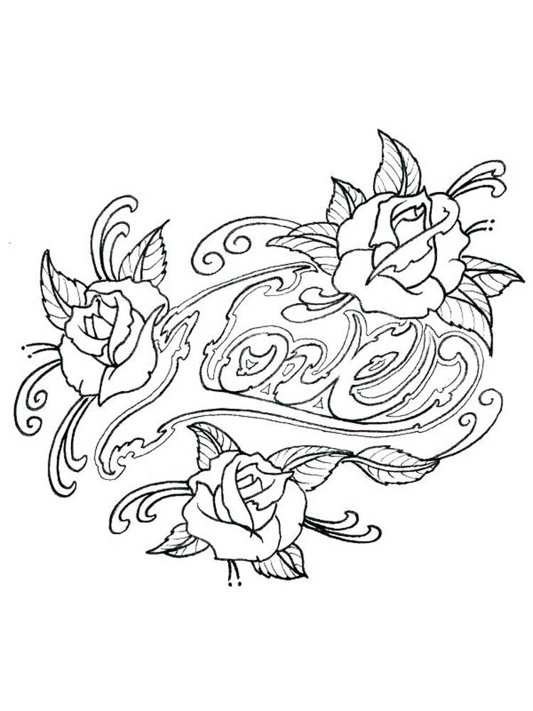 Free Tattoo Coloring Pages For Adults. Printable To Download Tattoo  Coloring Pages.