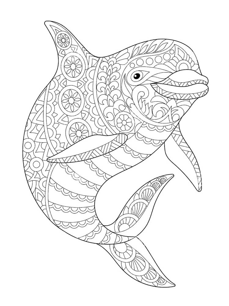 Zentagle Dolphin coloring pages for Adults