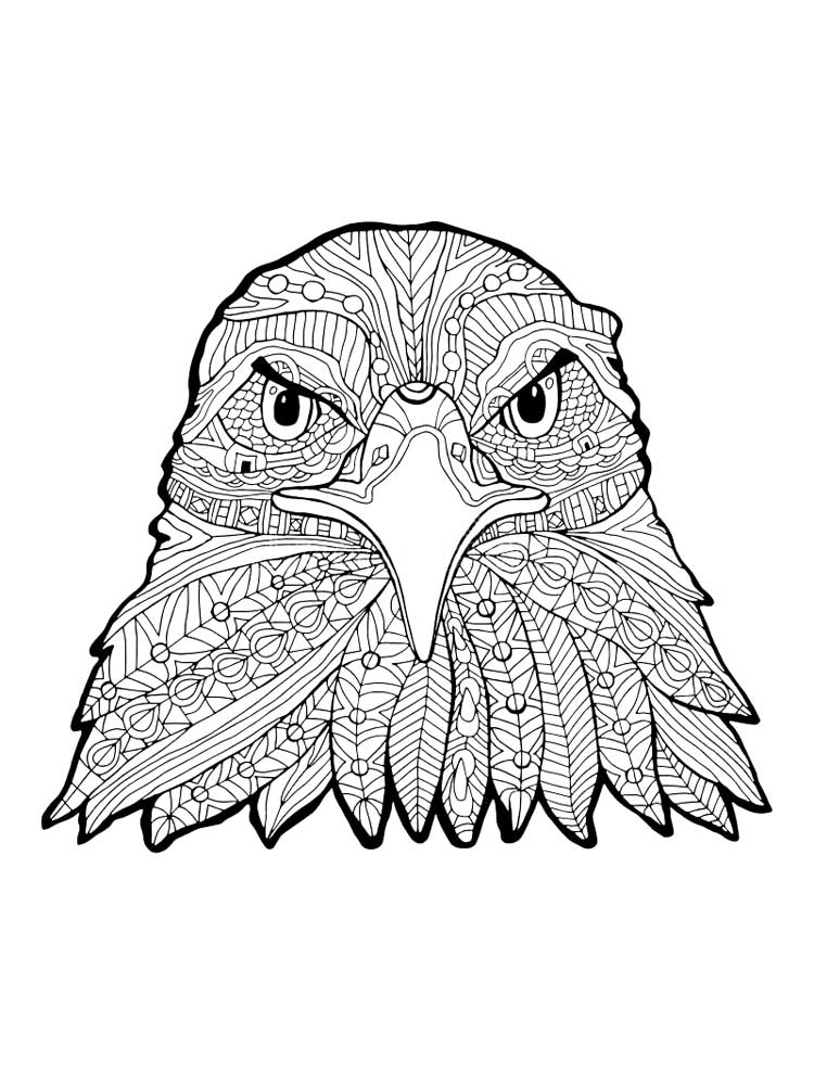 Zentagle Eagle coloring pages for Adults