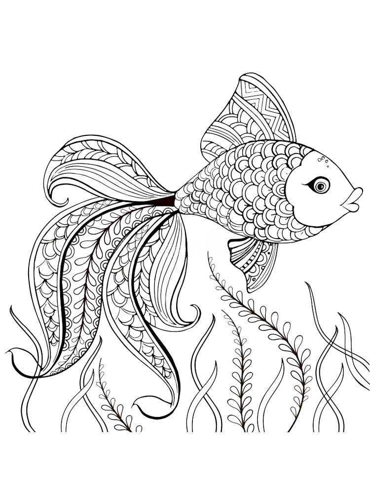 Zentagle Fish coloring pages for Adults