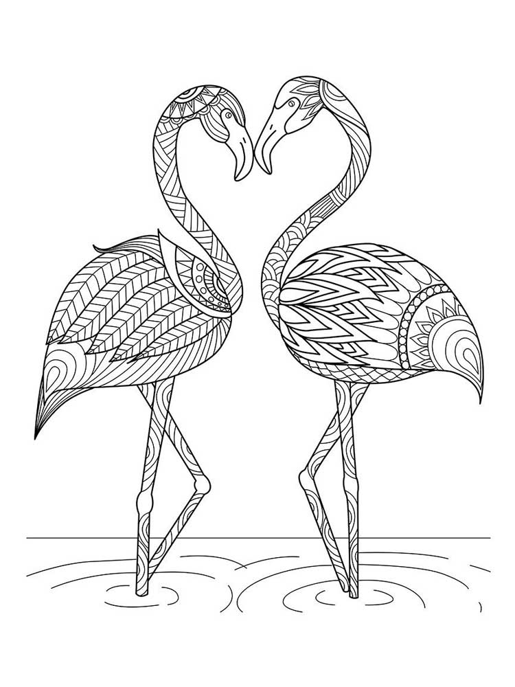 Zentagle Flamingo coloring pages for Adults