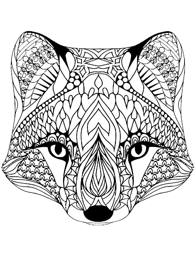 Zentagle Fox coloring pages for Adults