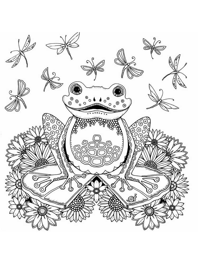 Zentagle Frog coloring pages for Adults