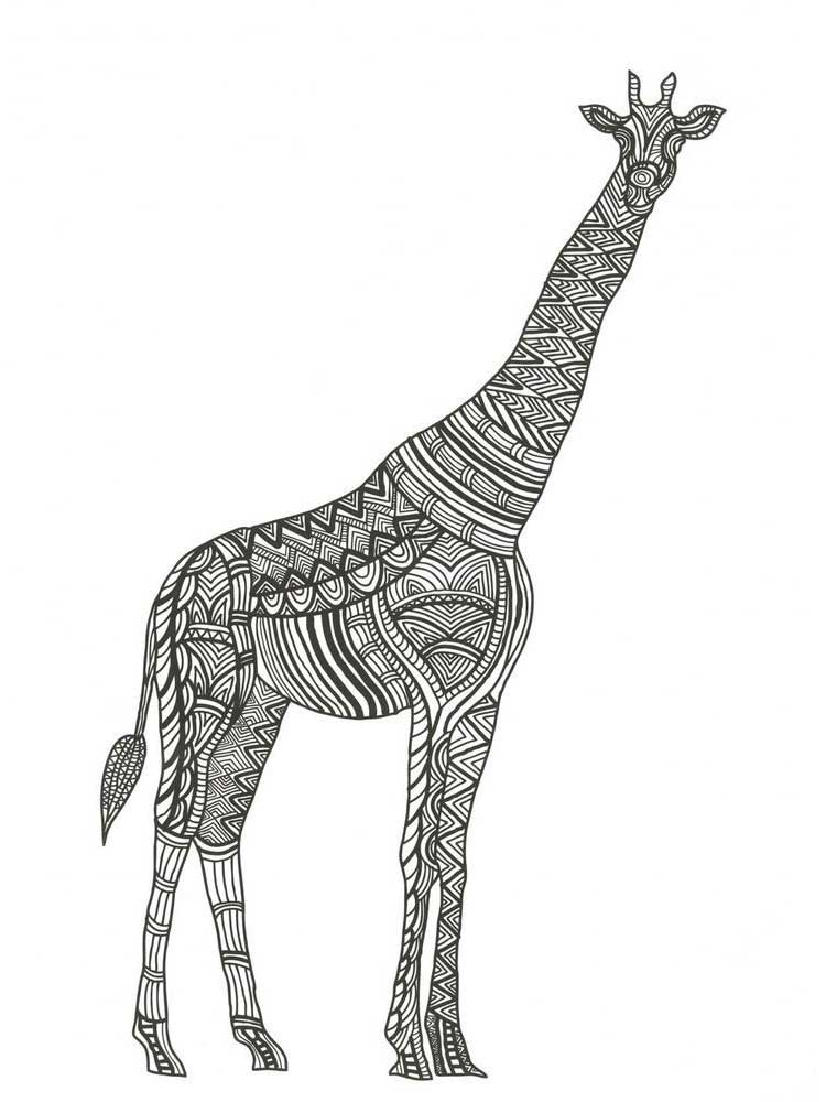 Zentagle Giraffe coloring pages for Adults