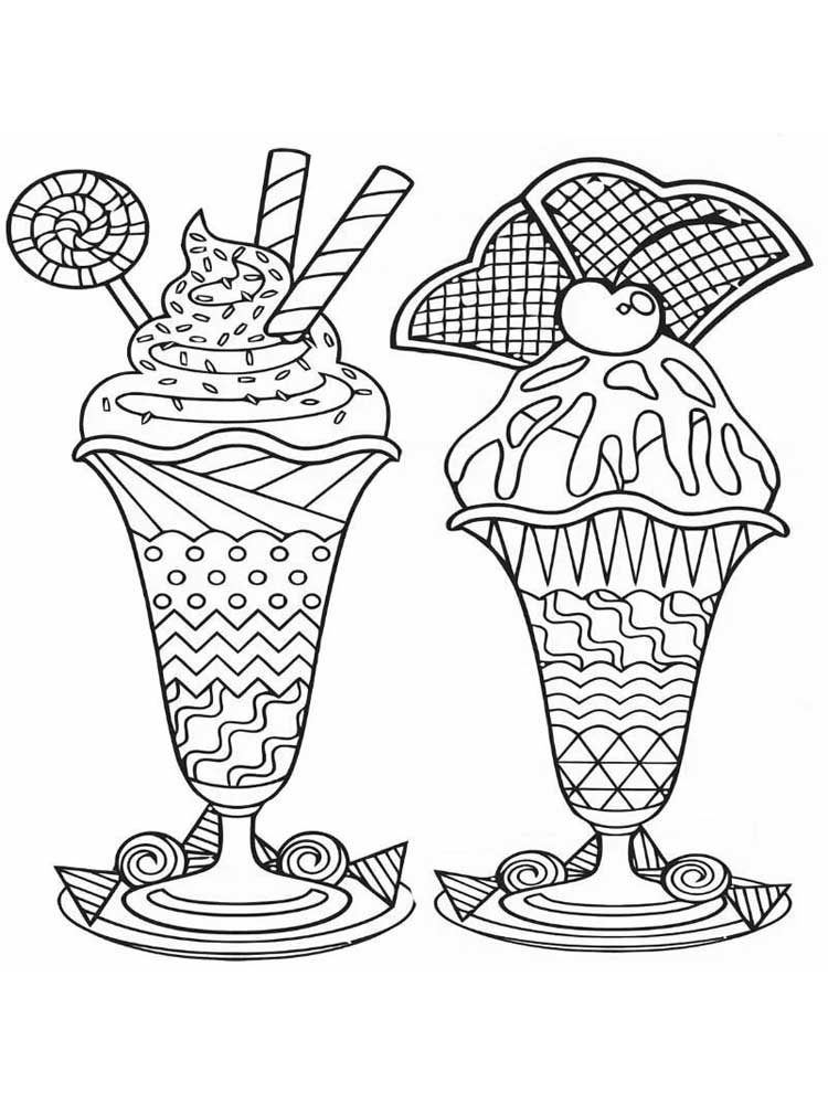 Free Ice Cream coloring pages for Adults. Printable to ...