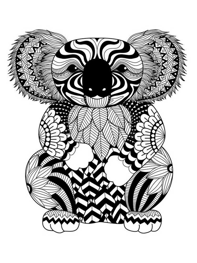 Free Koala Coloring Pages For Adults Printable To Download Koala Coloring Pages