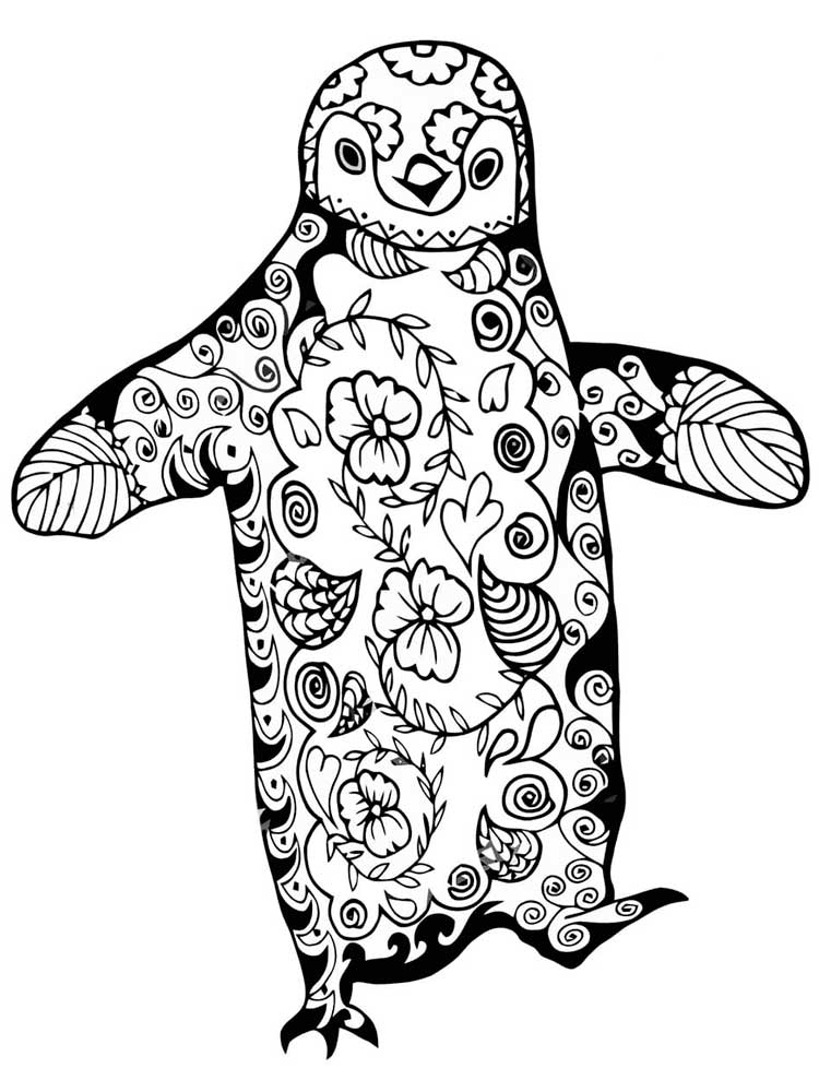 Free Penguin coloring pages for Adults. Printable to ...