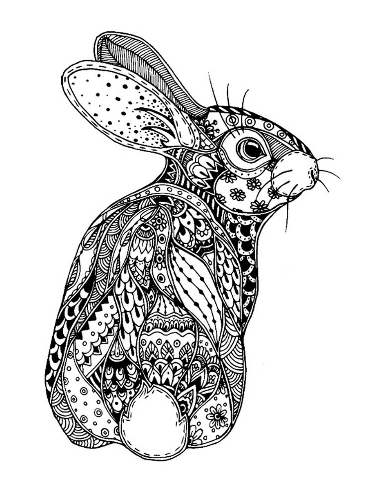 Free Rabbit coloring pages for Adults. Printable to ...