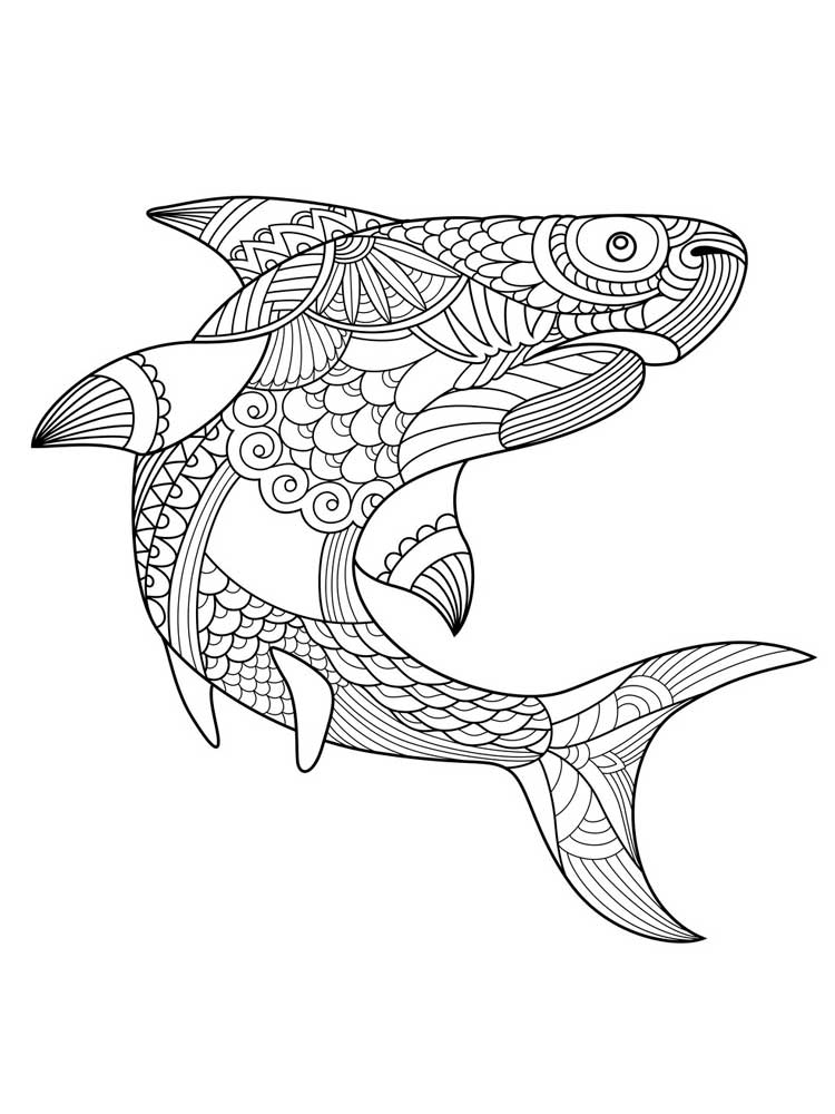 Free Shark coloring pages for Adults. Printable to ...