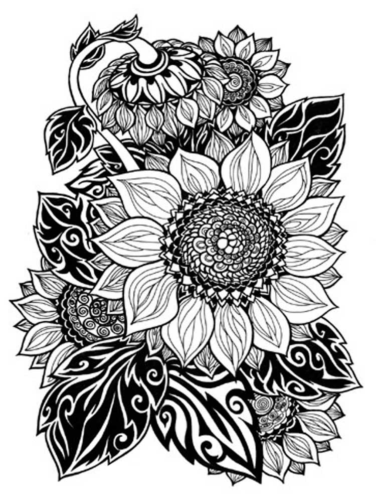 Free Sunflower coloring pages for Adults. Printable to ...