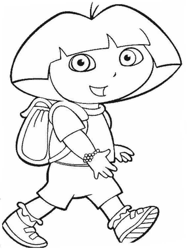 dora the explorer coloring pages - Cartoon Character Coloring Pictures