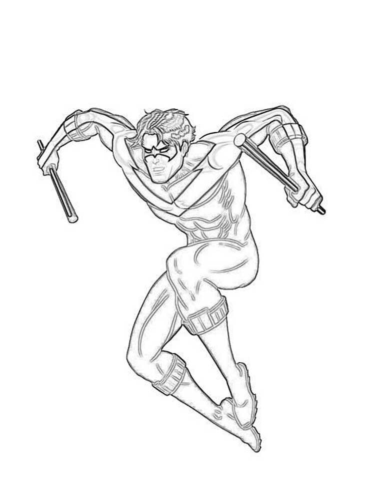 Free Nightwing coloring pages. Download and print ...