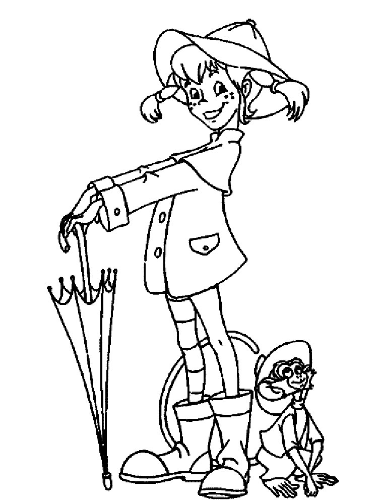 cartoon coloring page - pippi longstocking coloring pages download and print