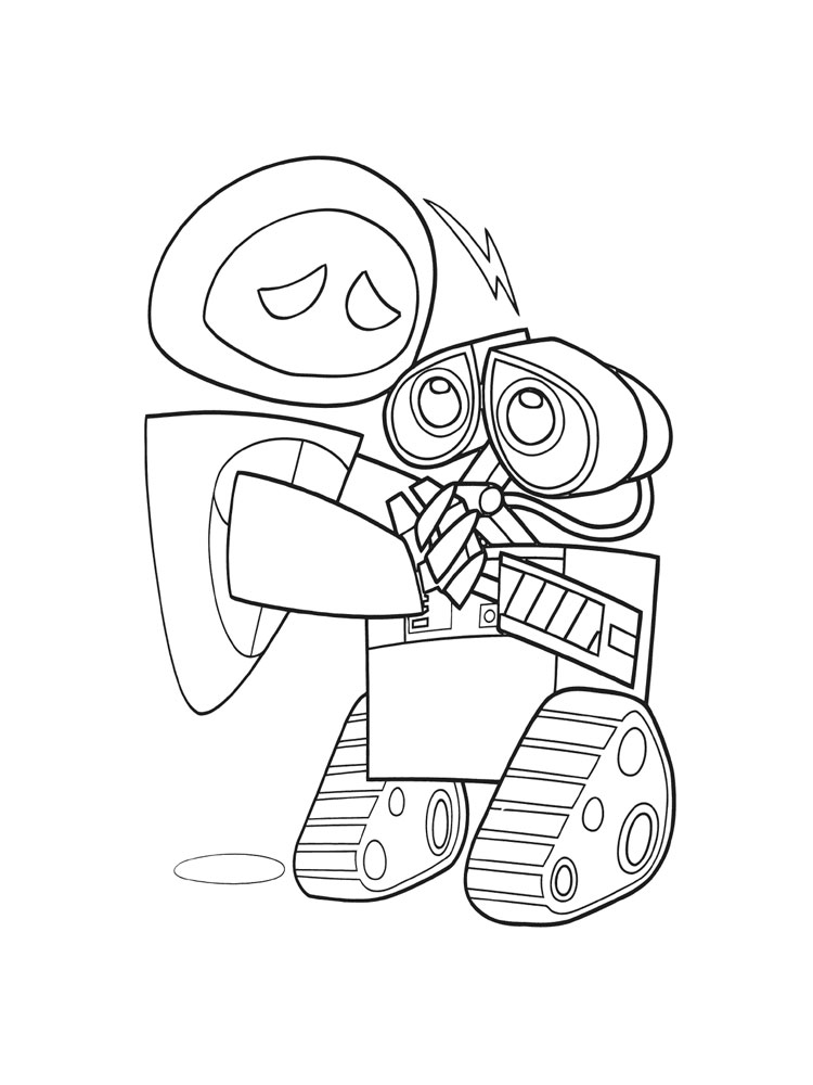 Wall-E cleaning coloring page | 1000x750
