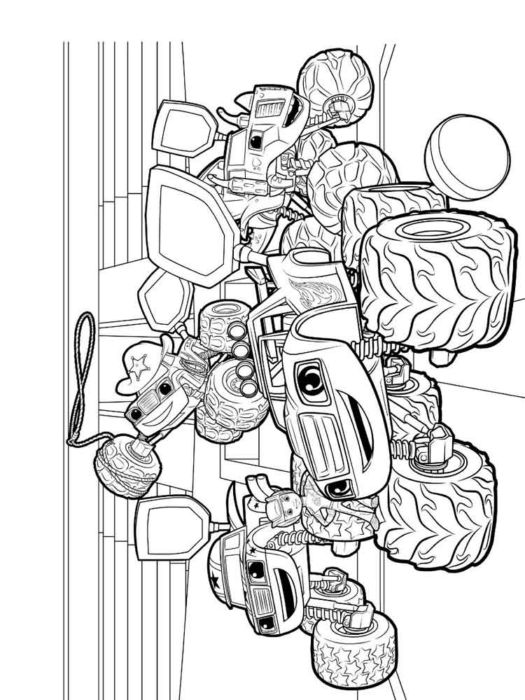 Kleurplaat Minecraft Monsters Blaze And The Monster Machines Coloring Pages Free
