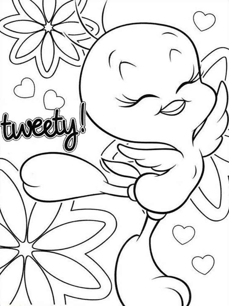 Cute Tweety Bird coloring pages Free Printable Cute Tweety Bird