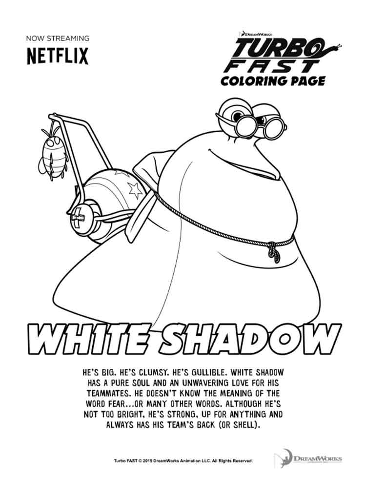 Dreamworks Turbo Coloring Pages Free Printable Dreamworks