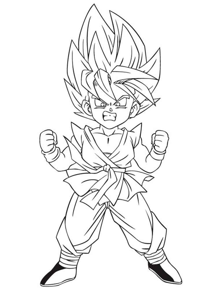 Goten super saiyan coloring pages free printable goten for Dbz coloring pages