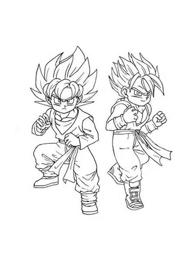 Goten Super Saiyan Coloring Pages Free Printable Goten