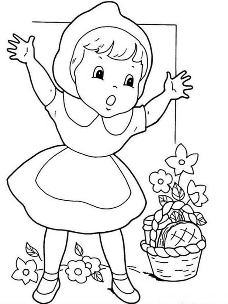 Little Red Ridding Coloring Pages Kidsuki
