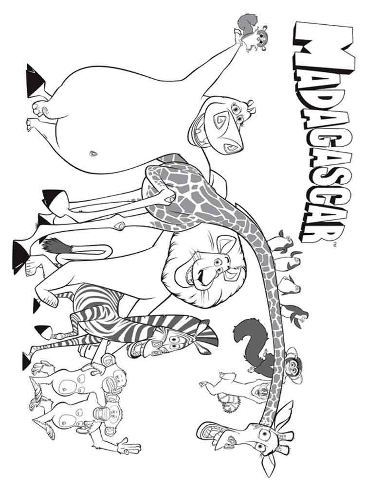 Madagascar coloring pages. Download and print Madagascar coloring pages.